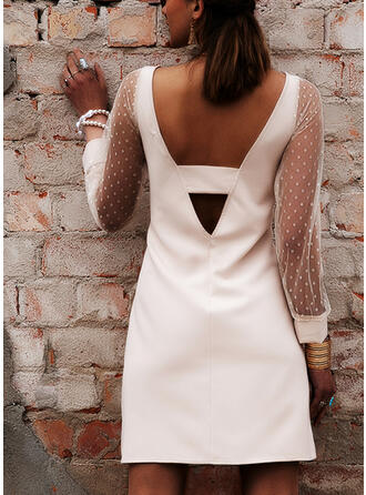 Solid/Backless Long Sleeves Sheath Above Knee Sexy/Party Dresses