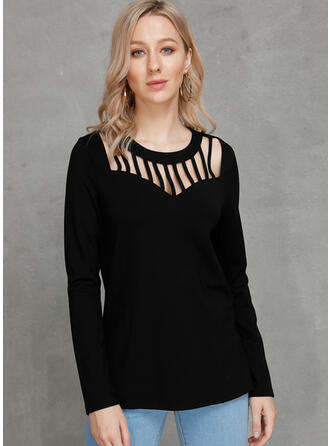 Solid Round Neck Long Sleeves Casual Sexy T-shirts