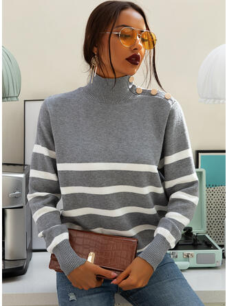 Striped Turtleneck Casual Sweaters