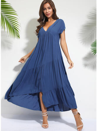 Solid Short Sleeves Shift Asymmetrical Casual/Vacation Dresses