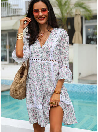 Print/Floral 3/4 Sleeves Shift Knee Length Casual/Boho/Vacation Tunic Dresses