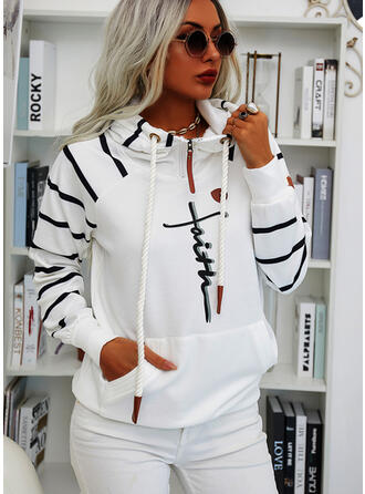 Print Striped Figure Pockets Long Sleeves Hoodie