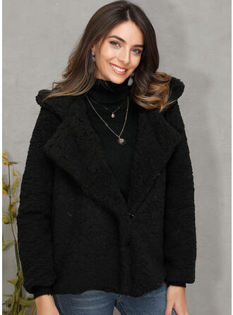 Imiteret Pels Lange ærmer Solid Color Faux Fur coat