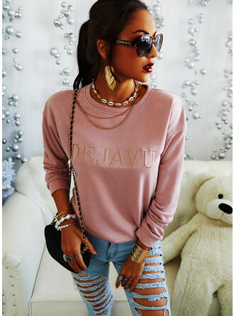 Embroidery Round Neck Long Sleeves Casual T-shirts