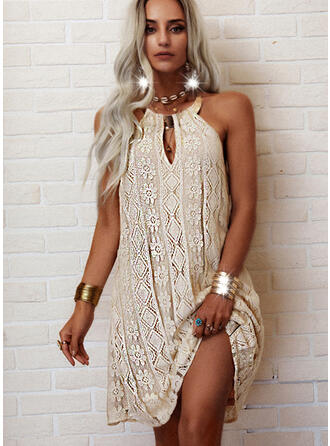 Lace/Solid/Backless Sleeveless Shift Above Knee Casual Dresses