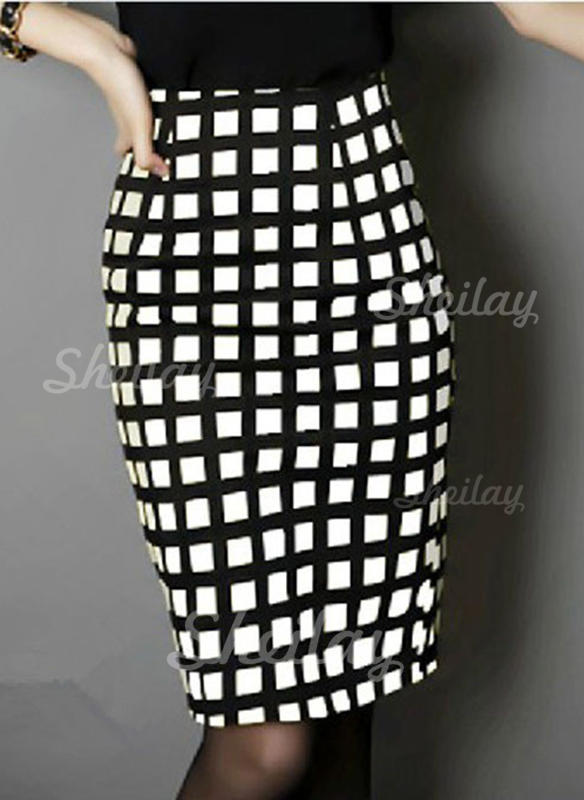 Woollen Plaid Knee Length Pencil Skirts Bodycon Skirts
