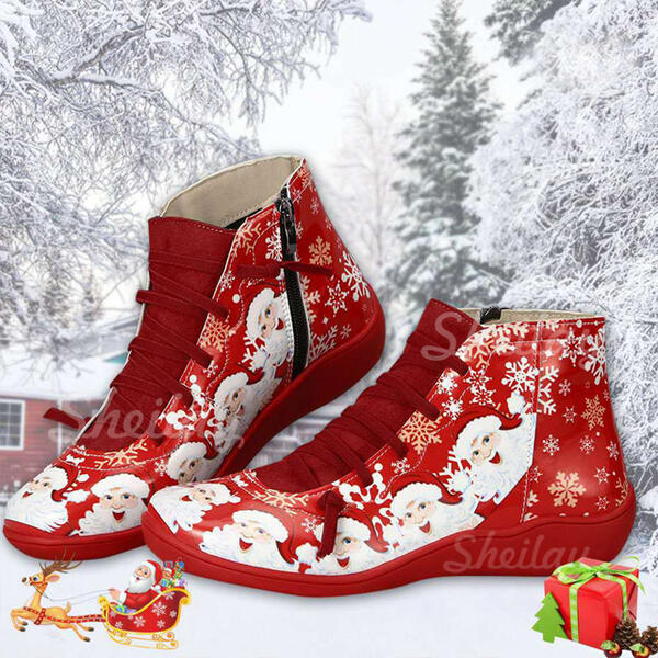 Women's PU Flat Heel Ankle Boots Round Toe Winter Boots With Lace-up Splice Color shoes