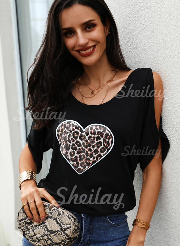 Leopard Cold Shoulder 1/2 Sleeves Casual Blouses