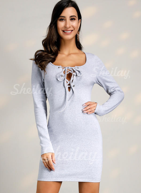 Solid Long Sleeves Bodycon Above Knee Casual Dresses