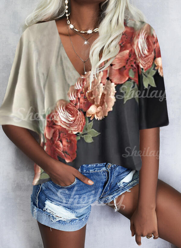 Print Floral V-Neck 3/4 Sleeves Casual Blouses