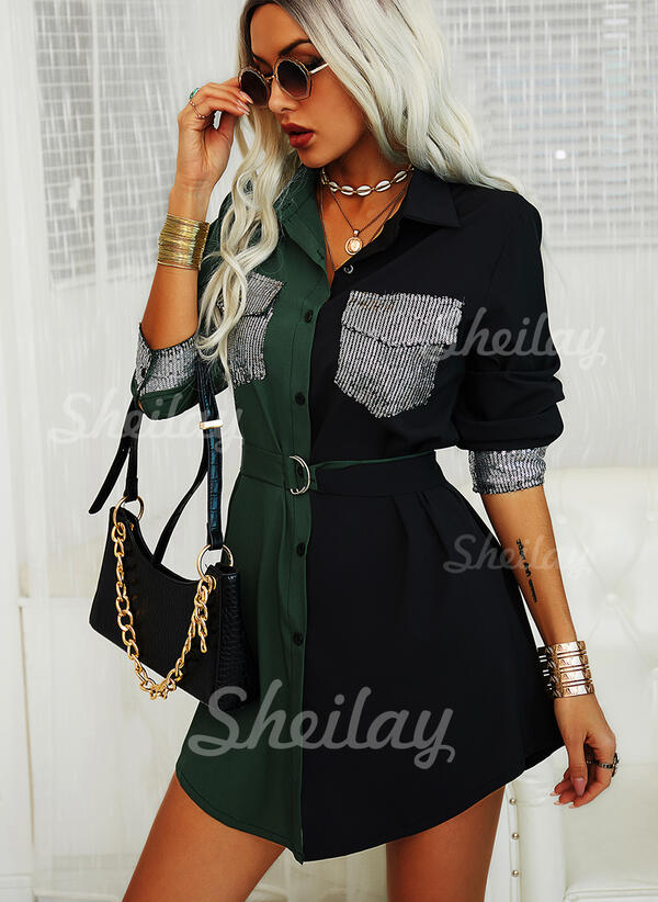 Sequins/Color Block Long Sleeves Sheath Above Knee Casual Shirt Dresses
