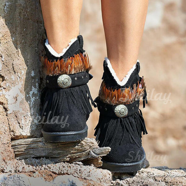 Women's PU Flat Heel Boots Snow Boots Round Toe Winter Boots With Tassel Solid Color shoes