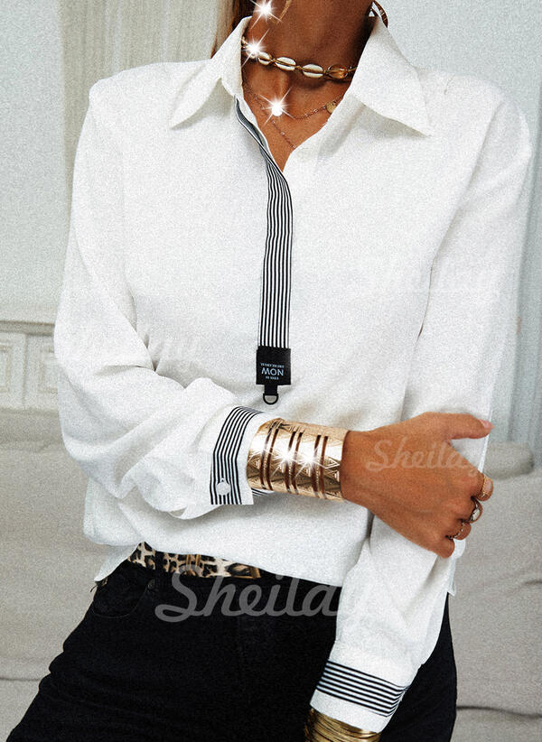 Striped Figure Lapel Long Sleeves Button Up Casual Blouses