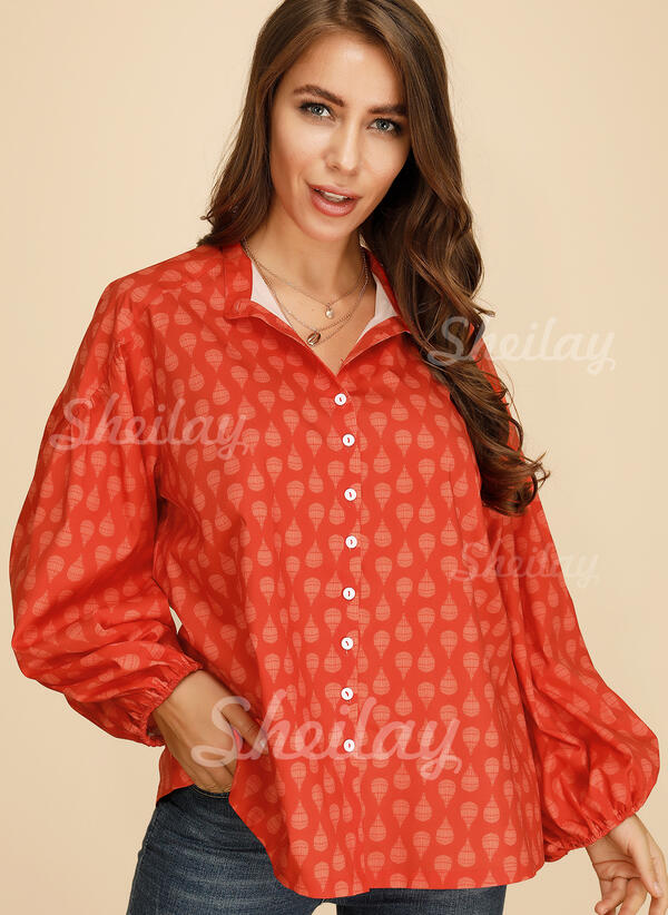 Print V-Neck 1/2 Sleeves Button Up Shirt Blouses