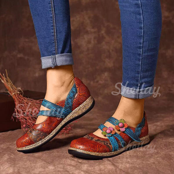 Women's PU Low Heel Flats Closed Toe With Hollow-out shoes