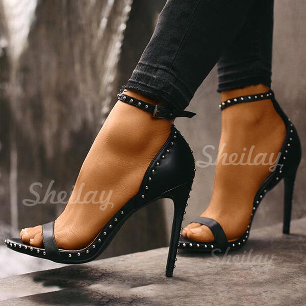 Women's PU Stiletto Heel Pumps Peep Toe With Rivet Buckle shoes