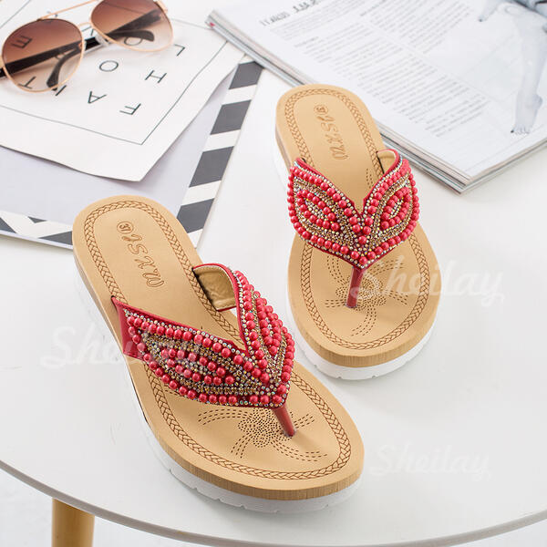 Women's Leatherette Flat Heel Sandals Flats Slingbacks Slippers With Imitation Pearl shoes