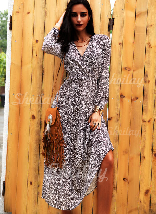 Print Long Sleeves A-line Wrap/Skater Casual Midi Dresses