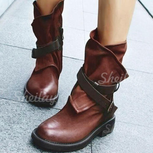 Women's PU Flat Heel Flats Closed Toe Boots Mid-Calf Boots With Buckle shoes