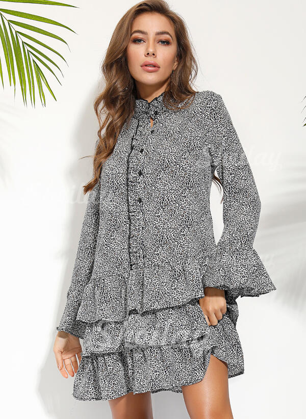 Print/Floral Long Sleeves Shift Above Knee Casual/Vacation Tunic Dresses