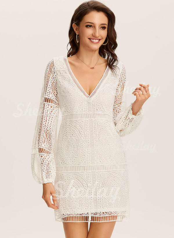 Lace/Solid Long Sleeves Shift Knee Length Little Black/Casual/Vacation Tunic Dresses