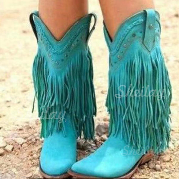 Women's Leatherette Chunky Heel Boots Mid-Calf Boots Low Top Round Toe With Tassel Solid Color shoes