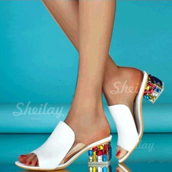 Women's PU Chunky Heel Sandals Peep Toe Slippers With Others shoes