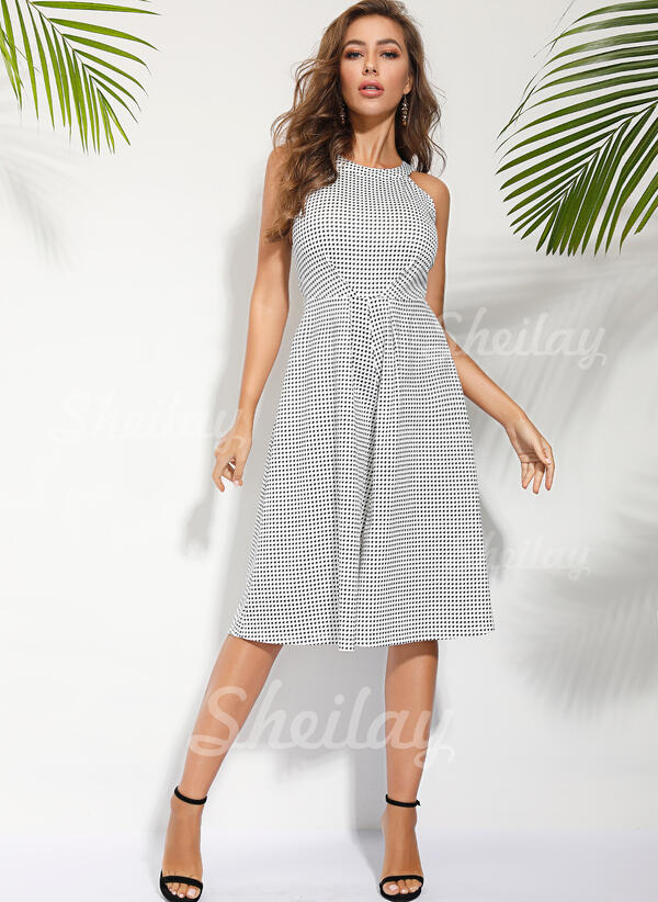 Print Sleeveless Knee Length Casual Jumpsuits Dresses