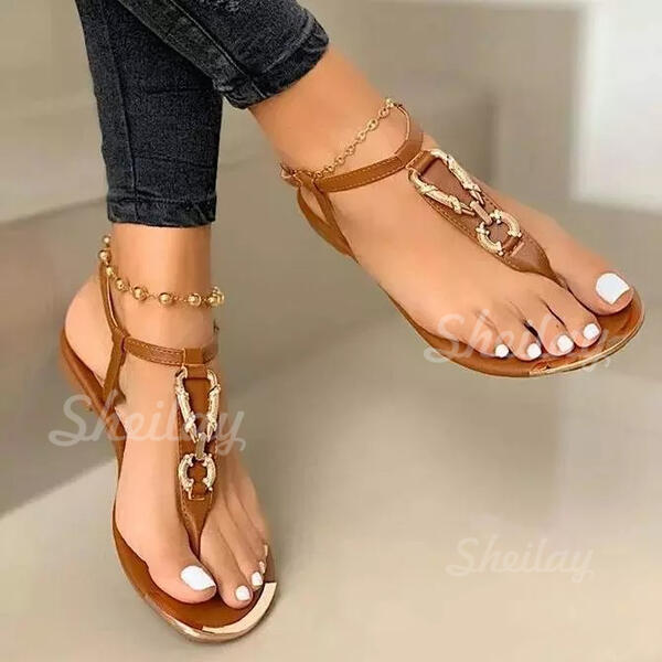 Women's PU Flat Heel Sandals Flats Peep Toe With Solid Color shoes