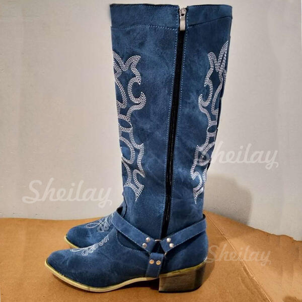 Women's PU Chunky Heel Knee High Boots Round Toe With Buckle Zipper Embroidery shoes