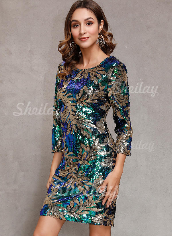 Sequins/Floral 3/4 Sleeves Sheath Above Knee Party/Elegant Dresses