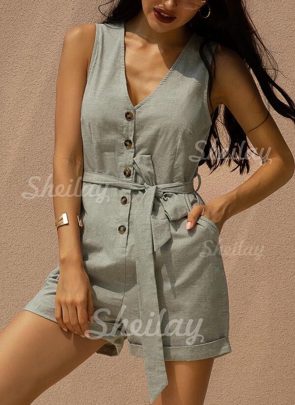 Solid V-Neck Sleeveless Casual Romper