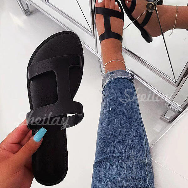 Women's Fabric Flat Heel Sandals Peep Toe Slippers shoes