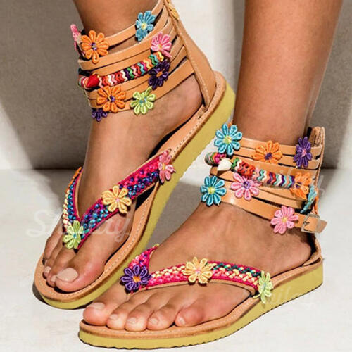 Women's Leatherette Flat Heel Sandals With Flower Others shoes
