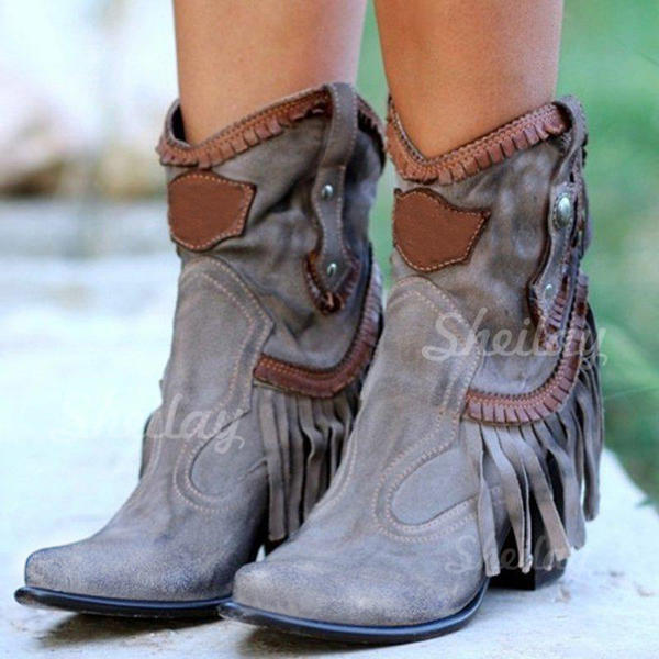 Women's PU Chunky Heel Mid-Calf Boots With Rivet Tassel shoes