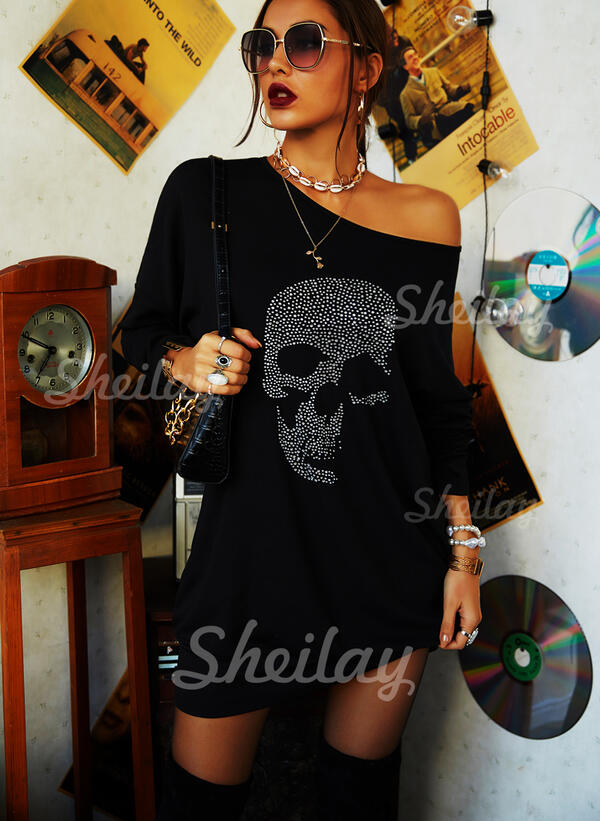 Sequins One Shoulder Long Sleeves Sweatshirt