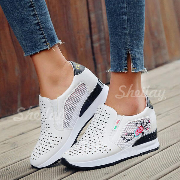 Women's PU Others Flats Low Top Round Toe Slip On With Hollow-out shoes
