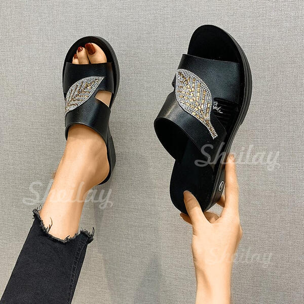 Women's PU Flat Heel Sandals Slippers shoes