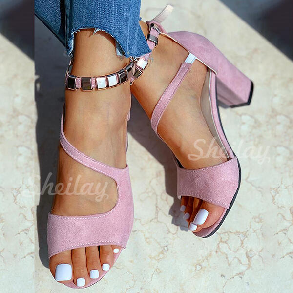 Women's Suede Chunky Heel Sandals Pumps With Buckle Hollow-out Elastic Band Solid Color shoes