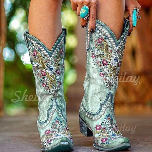 Women's Suede Chunky Heel Mid-Calf Boots Pointed Toe With Embroidery Lace shoes