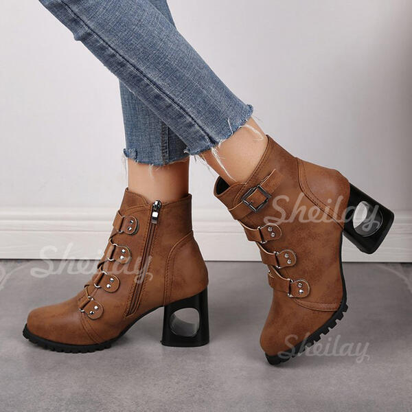 Women's PU Chunky Heel Round Toe With Rivet Buckle Solid Color shoes
