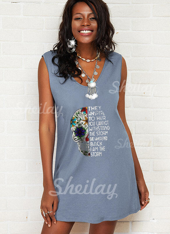 Print/Floral/Letter Sleeveless Shift Above Knee Casual Tank Dresses