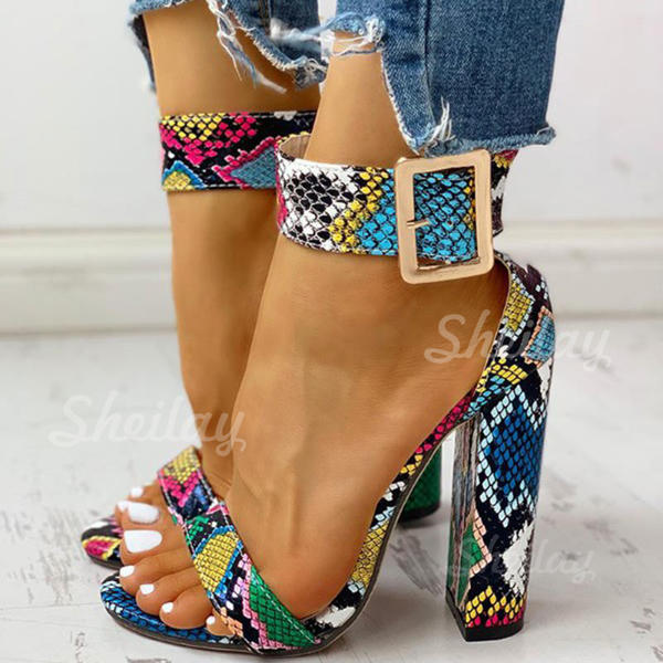 Women's PU Stiletto Heel Sandals Peep Toe With Buckle Animal Print shoes