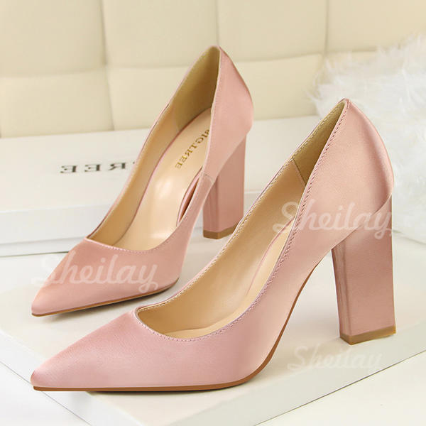 Women's Satin Chunky Heel Pumps Closed Toe shoes