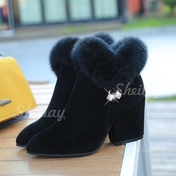 Women's Leatherette Chunky Heel Ankle Boots Pointed Toe With Others Solid Color shoes