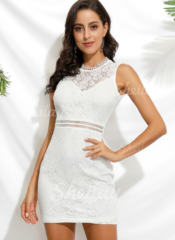 Lace Sleeveless Sheath Above Knee Casual/Party Dresses