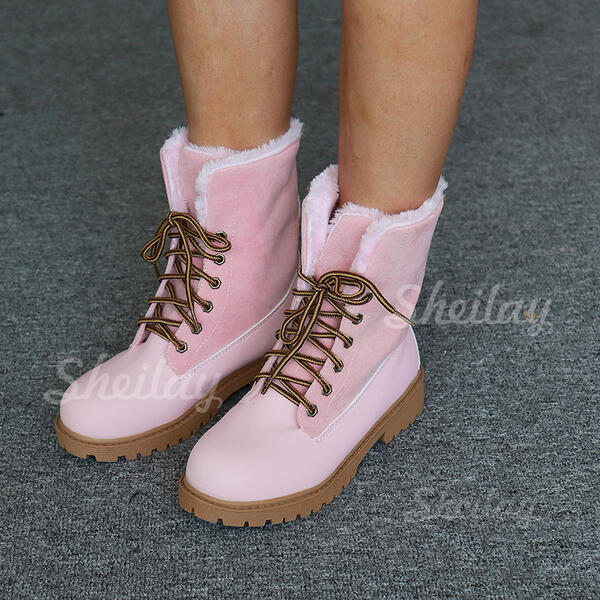 Women's PU Chunky Heel Mid-Calf Boots High Top Round Toe With Lace-up shoes