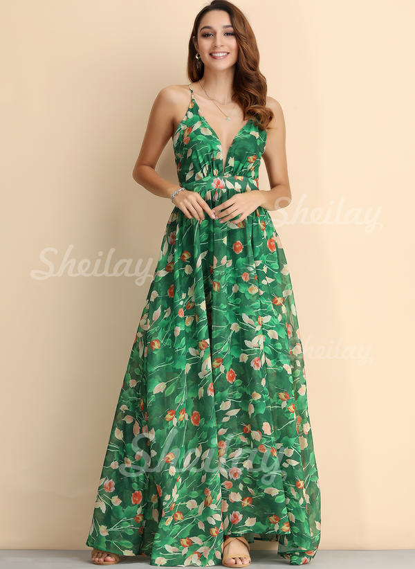 Print/Floral/Backless Sleeveless A-line Sexy/Boho/Vacation Maxi Dresses