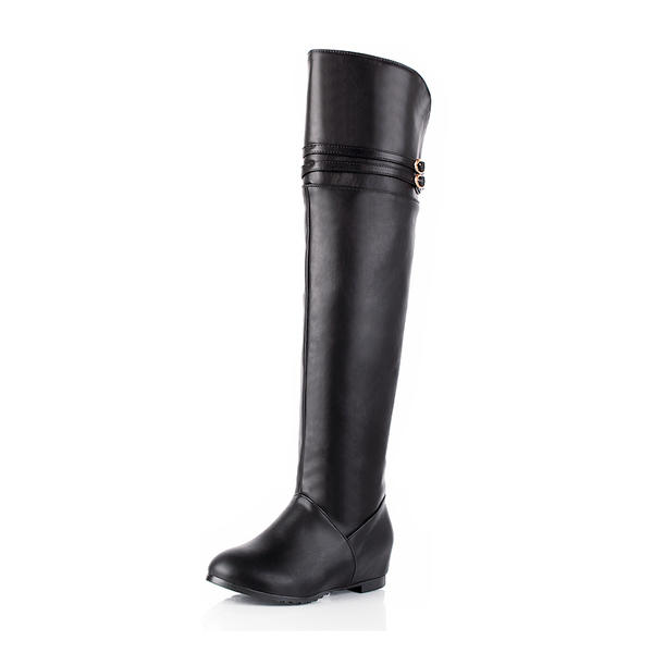 Women's Leatherette Flat Heel Flats Closed Toe Boots Knee High Boots Over The Knee Boots Riding Boots With Buckle shoes