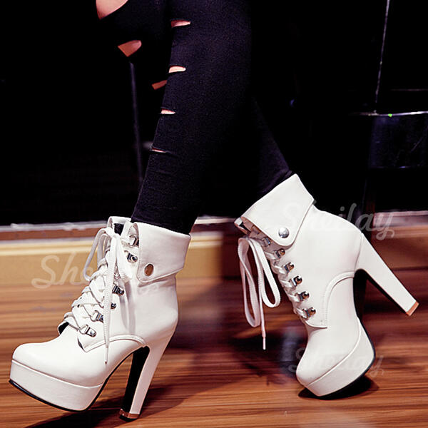 Women's PU Wedge Heel Chunky Heel Wedges Boots Ankle Boots Heels With Elastic Band Solid Color shoes